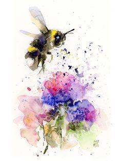 Watercolor Print, Watercolor Illustration, Watercolor Flowers, Watercolor Paintings, Original Paintings, Original Art, Watercolours, Bumble Bee Tattoo, Purple Flowers