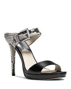 MICHAEL Michael Kors Mule Sandals - Beverly Buckled Snake-Embossed | Bloomingdale's