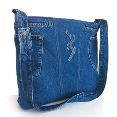 Cross body purse ,recycled blue jean messenger bag , recycled clothing tote bag , Eco friendly day bag for men and women