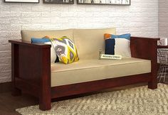Shop Agnes 2 Seater Wooden Sofa online with Mahogany Finish. The gorgeous two seater sofa designs at Wooden Street creates amazing impact on the living room decor. Get online from Latest Wooden Sofa Designs, Wooden Sofa Set Designs, Living Room Sofa Design, Bedroom Bed Design, Sofa Bed Lounge, Couch Sofa, Sofa Set Price, Sofa Set Online, Furniture Sofa Set