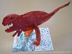 1st grade cardboard dinos...perfect for after our dino pastel drawings!