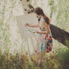 Mina painting the beautiful serene beauty of the Fae Plane