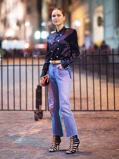 Balmain x H&M shirt and sandals; Vetements jeans.