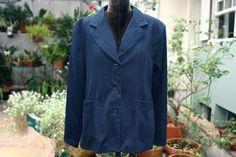 Blazer Azul Marinho Quadriculado $70 Tamanho G Second Hand