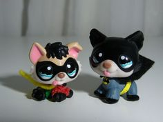 Littlest Pet Shop Batman Bat Dog ROBIN Superhero Custom figure LPS OOAK LOT #Hasbro