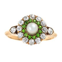 Antique Diamond, Demantoid Garnet and Pearl Cluster Ring