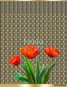 "Download the royalty-free photo ""Greeting card with red tulips on gray fabric texture  background. Digital Illustration"" created by sofiartmedia at the lowest price on Fotolia.com. Browse our cheap image bank online to find the perfect stock photo for your marketing projects!"