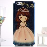 Diamond Blue- Ray IMD Soft TPU Back Case for iPhone 6S / 6 - Girl with Crown