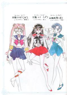 "Original character designs for Sailor Moon (Usagi Tsukino), Sailor Mars (Rei Hino), & Sailor Mercury (Ami Mizuno) from ""Sailor Moon"" series by manga artist Naoko Takeuchi."