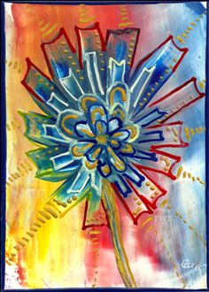 Colorful flower reflecting her light www.FunWithEncaustic.com