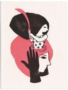 Sabre - Linogravure réalisée par Evelyne Mary - 30 exemplaires - Signées et numérotées - 18 x 24 cm