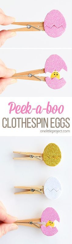 These peekaboo clothespin eggs are so easy to make and they look SO CUTE! Each one takes less than 5 minutes to make and they look adorable! They're an awesome low mess craft idea and are such an adorable Easter craft idea!! My kids loved seeing the surprise chick inside the egg! #crafts