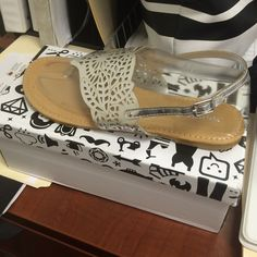 Brand new Silver thong sandals Still in box! Bamboo Shoes Sandals