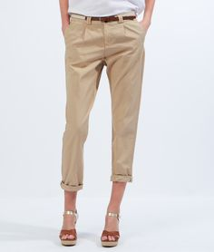 Cotton chino pants with belt - Sales