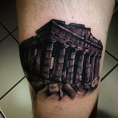 """The Parthenon"" tattoo from last night, really fun piece. Really happy with the way this one turned out #Parthenontattoo #greektattoo #blackandgreytattoo #bng #bostontattooartist #chrisreilly #empiretattoo #empiretattooinc #tattoo #bostontattoo www.empiretattooinc.com"