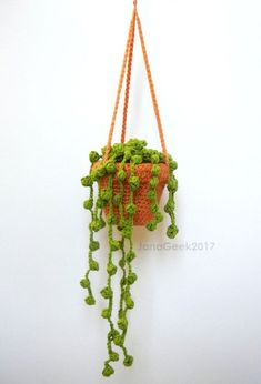 String of Pearls Succulent Plant in Hanging Pot Amigurumi Crochet Pattern - Imagine - Plants Hanging Succulents, Hanging Pots, Crochet Cactus, Crochet Flowers, Single Crochet Decrease, Amigurumi For Beginners, String Of Pearls, Crochet Basics, Crochet Hooks