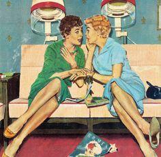 Vintage illustration / print, Beauty Shop Gossip, artist unknown. Auf rogerwilkerson.tumblr.com http://www.pinterest.com/tweetyperkins/americana/