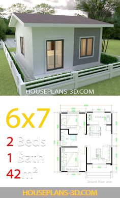 House Design 6x7 with 2 bedrooms - House Plans 3D