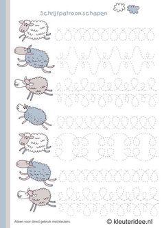 schrijfpatroon schapen voor kleuters, kleuteridee.nl , sheep writing pattern for preschool , free printable.