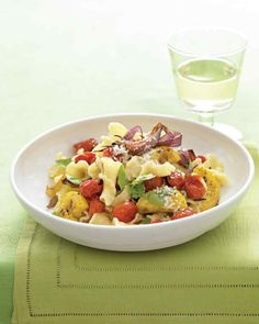 Pasta with Roasted Summer Vegetables and Basil Recipe | Martha Stewart