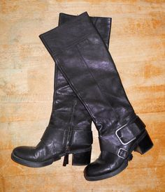 36dd1f91e9 NINE WEST Riding Boots Black Leather Zip Buckle Knee High Wedge Heel Size 6  M | eBay