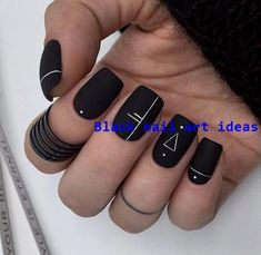 20 SIMPLE BLACK NAIL ART DESIGN IDEAS  #naildesigns