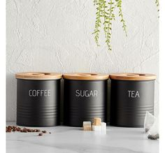 coffee, tea and sugar set – Decor Ideas Kitchen Canister Sets, Tea Canisters, Kitchen Canisters, Kitchen Storage, Kitchen Worktop, Kitchen Decor, Tin Can Crafts, Diy And Crafts, Coffee Can Crafts