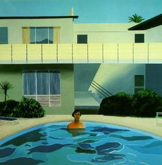 David Hockney - some hollywood villa with a pool and a man it.