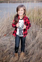 Girls Plaid Red And Black Top