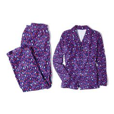 Hearts Purple Pearl Long Sleeve Fleece Sleep Top