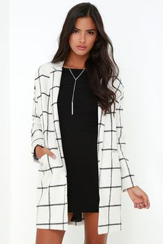 City Streets Black and Ivory Grid Print Coat at Lulus.com!