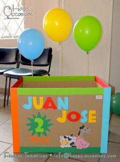 Caja para los regalos Jungle Theme Birthday, Horse Birthday, Baby Boy 1st Birthday, Farm Birthday, Animal Birthday, Dinosaur Birthday, Birthday Party Themes, Barbie Party, Happy Party