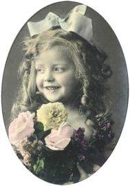 Losse vintage applicatie : bloemen meisje