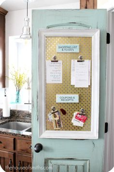 bulletin board-- love how its on the INSIDE of the door to keep an UNCLUTTERED look... Makes your home feel CALM.