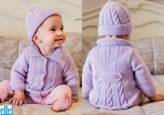 Cable Coat & Beanie  Brand: Elle Count: Double Knit Yarn: Babykins Size From: Birth Size To: 24 months