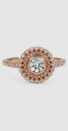 This feminine engagement ring was inspired by an Art Deco piece • almost #steampunk ish