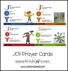 JOY Prayer Cards...for teaching children how to pray. www.notconsumed.com