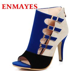 AIWEIYi Womens Patch Color Pumps Buckles Cutouts Platform High Heel Sandal  Shoes ** Details can be found by clicking on the image.