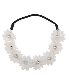 #White#Fabric#Spotted#Crystal#Floral#Flower#Stretch#Headband#Head#Band#Spotted#Crystal#CG121HOKW7P | White Fabric Spotted Crystal Floral Flower Stretch Headband Head Band - Spotted Crystal - CG121HOKW7P Women's Headbands, Boho Headband, Floral Headbands, Headbands For Women, Beautiful Gifts For Her, Caps For Women, White Fabrics, Floral Flowers, Trendy Fashion
