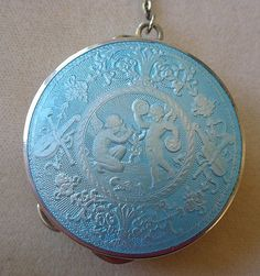 Exceptional Enamel & Sterling Silver Compact Early 1900s