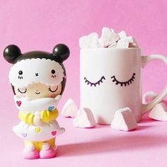 Dreaming by Momiji!  Momiji are message dolls.  Hot chocolate and a slumber party!  instagram by @lknurdr #kawaii #sleepover #gift #ideas