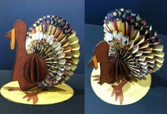 Pinner said.Rosette Turkey - another great way to use the Martha Stewart Scoring Board! Fall Paper Crafts, Autumn Crafts, Scrapbook Paper Crafts, Holiday Crafts, Paper Crafting, Scrapbooking, Holiday Ideas, Thanksgiving Cards, Thanksgiving Decorations