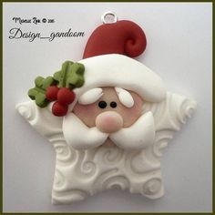 Excellent Pictures molding clay ornaments Strategies Polymer Clay Star Santa Pendant Charm by michellesclaybeads Polymer Clay Ornaments, Fimo Clay, Polymer Clay Projects, Polymer Clay Creations, Polymer Clay Jewelry, Clay Beads, Clay Earrings, Ceramic Clay, Clay Christmas Decorations