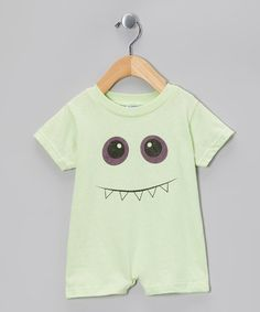 Take a look at this Key Lime Toothy Smile Monster Romper - Infant by Urs Truly on #zulily today!