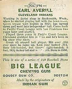 1933 Goudey #194 Earl Averill Back