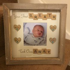 Handmade Personalised New Baby Frame Christening Gift