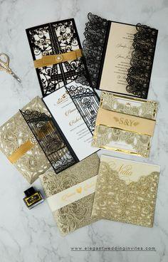 black and gold laser cut wedding invtations #ewi #weddinginvitations