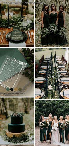 Black Wedding Themes, Fall Wedding Colors, Green Wedding, Winter Themed Wedding, Wedding Ideas, Emerald Wedding Colors, Black Weddings, Wedding Black, Winter Weddings