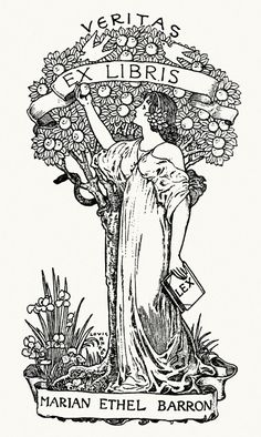 Marian Ethel Baron's ex-libris.    From A collection of book plate designs, by Louis Rhead, Boston, 1907.    (Source: archive.org)