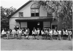 Dodge Stables' Saddlebreds. Fourth horse from the right is Wing Commander.
